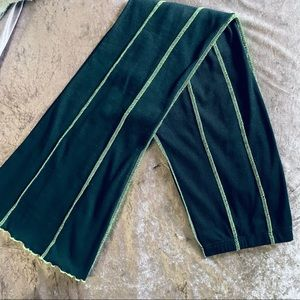 Black and Lime Green Exposed Seam Wide Leg Pants L